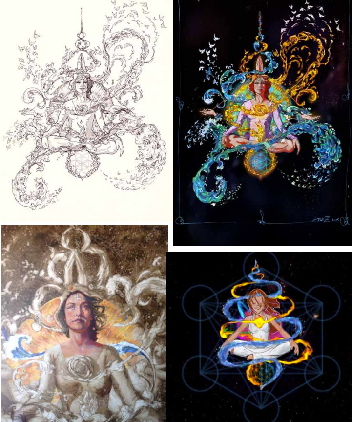 Four iterations of the original drawing we called Gaia. She was revealed at Lucidity 2014 and continues to emerge. From a drawing, to a digital painting, then an oil painting and now in animation.