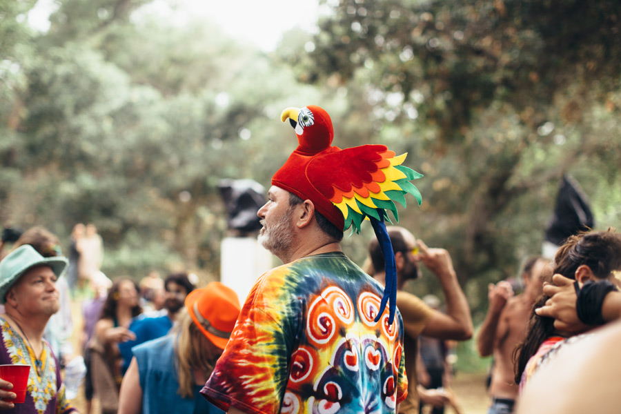 a man in a parrot hat